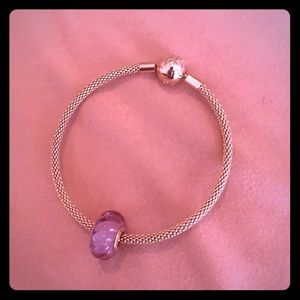 Rose gold Bangle with one charm